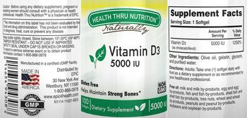 Health Thru Nutrition Naturally Vitamin D3 5000 IU - supplement