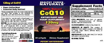 Healthy Choice Naturals 100% Natural CoQ10 Antioxidant And Heart Supplement 120mg - supplement