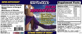 Healthy Choice Naturals Acai Advantage - supplement