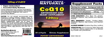 Healthy Choice Naturals CoQ10 Antioxidant And Heart Supplement 120mg - supplement