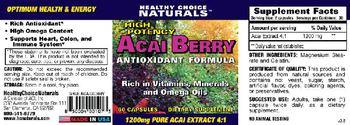 Healthy Choice Naturals High Potency Acai Berry Antioxidant Formula - supplement