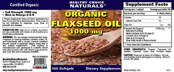 Healthy Choice Naturals Organic Flaxseed Oil 1000 mg - supplement