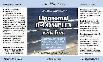 Healthy Items Liposomal Nutritionals Liposomal B-Complex with Iron -