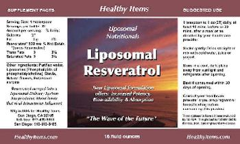 Healthy Items Liposomal Nutritionals Liposomal Resveratrol -