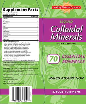 Healthy Natural Systems Liquid Colloidal Minerals - supplement