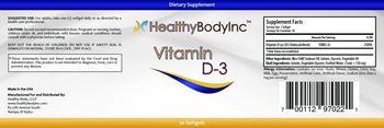 HealthyBodyInc Vitamin D-3 - supplement