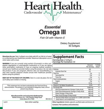 Heart Health Essential Omega III Fish Oil With Vitamin E - supplement