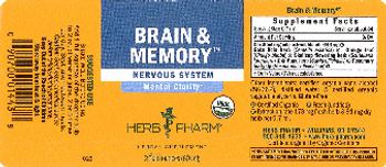 Herb Pharm Brain & Memory - herbal supplement