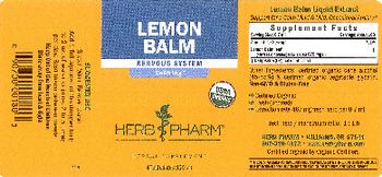 Herb Pharm Lemon Balm - herbal supplement