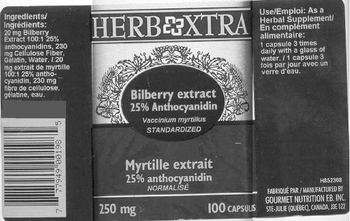 Herb Xtra Bilberry Extract 25% Anthocyanidin -