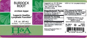 Herbalist & Alchemist H&A Burdock Root - herbal supplement