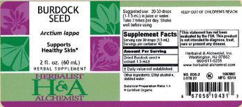 Herbalist & Alchemist H&A Burdock Seed - herbal supplement
