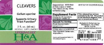 Herbalist & Alchemist H&A Cleavers - herbal supplement