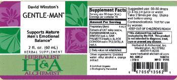 Herbalist & Alchemist H&A David Winston's Gentle-Man - herbal supplement