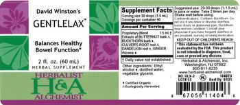 Herbalist & Alchemist H&A David Winston's Gentlelax - herbal supplement