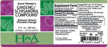 Herbalist & Alchemist H&A David Winston's Ginseng/Schisandra Compound - herbal supplement