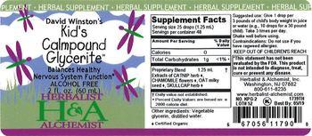 Herbalist & Alchemist H&A David Winston's KId's Calmpound Glycerite - herbal supplement