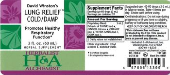 Herbalist & Alchemist H&A David Winston's Lung Relief Cold/Damp - herbal supplement