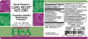 Herbalist & Alchemist H&A David Winston's Lung Relief Hot/Dry - herbal supplement