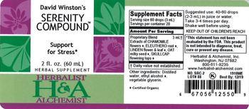 Herbalist & Alchemist H&A David Winston's Serenity Compound - herbal supplement