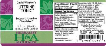 Herbalist & Alchemist H&A David Winston's Uterine Tonic - herbal supplement