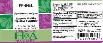Herbalist & Alchemist H&A Fennel - herbal supplement
