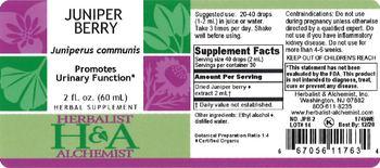 Herbalist & Alchemist H&A Juniper Berry - herbal supplement