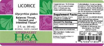 Herbalist & Alchemist H&A Licorice - herbal supplement