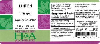 Herbalist & Alchemist H&A Linden - herbal supplement