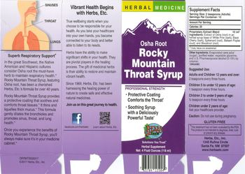 Herbs Etc. Osha Root Rocky Mountain Throat Syrup - herbal supplement