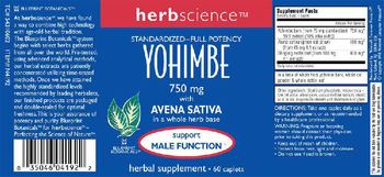 Herbscience Yohimbe 750 mg with Avena Sativa - herbal supplement