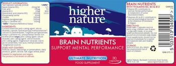 Higher Nature Brain Nutrients - food supplement
