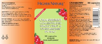 Higher Nature Cranberry Concentratred Whole Fruit & Standardised Extract - food supplement