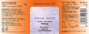 Higher Nature Folic Acid 400 mcg - food supplement