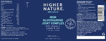Higher Nature MSM Glucosamine Joint Complex - food supplement