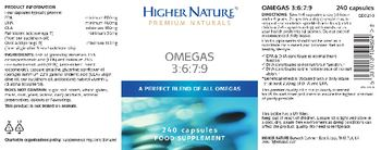 Higher Nature Omegas 3:6:7:9 - food supplement