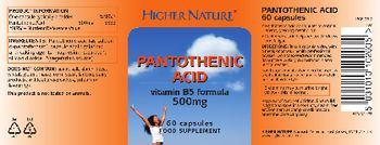 Higher Nature Pantothenic Acid 500 mg - food supplement