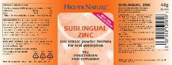 Higher Nature Sublingual Zinc - food supplement